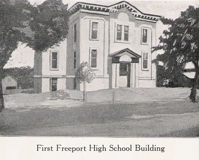 The first Freeport High School Building. This drawing was adapted from a photo taken in 1850, and is the oldest known photograph taken in Freeport.